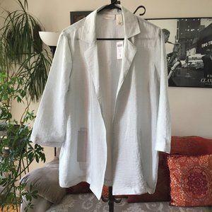CHICOS Travelers Woven Shine Sabrina Gray Jacket